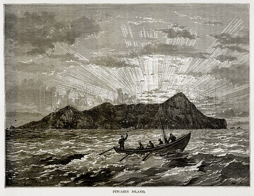 Pitcairn Island. Illustration from The Countries of the World by Robert Brown (Cassell, c 1890).