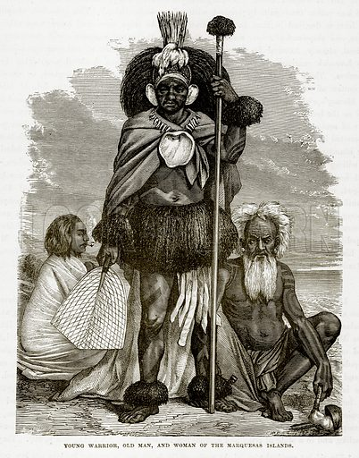 Young Warrior, Old Man, and Woman of the Marquesas Islands. Illustration from The Countries of the World by Robert Brown (Cassell, c 1890).