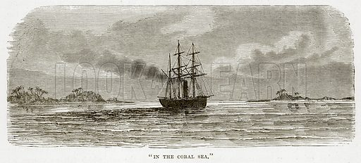 """""""In the Coral Sea."""" Illustration from The Countries of the World by Robert Brown (Cassell, c 1890)."""