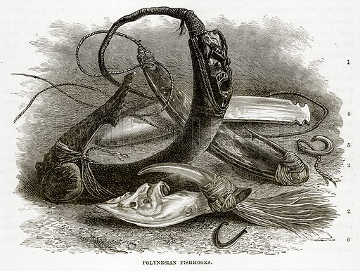 Polynesian Fishhooks. Illustration from The Countries of the World by Robert Brown (Cassell, c 1890).
