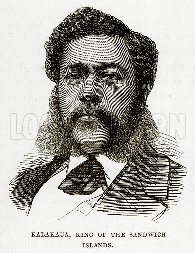 Kalakaua, King of the Sandwich Islands. Illustration from The Countries of the World by Robert Brown (Cassell, c 1890).