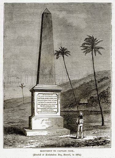 Monument to Captain Cook. (Erected at Kealakakua Bay, Hawaii, in 1874.) Illustration from The Countries of the World by Robert Brown (Cassell, c 1890).