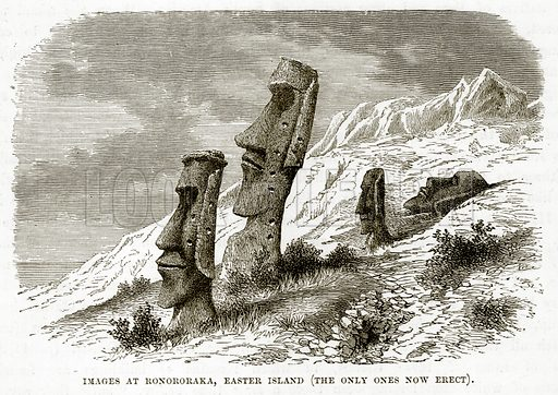 Images at Ronororaka, Easter Island (The only ones now erect). Illustration from The Countries of the World by Robert Brown (Cassell, c 1890).