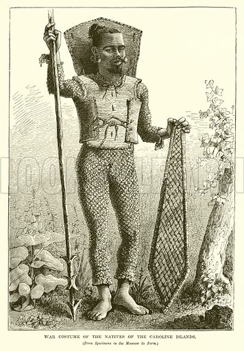 War Costume of the Natives of the Caroline Islands. Illustration from The Countries of the World by Robert Brown (Cassell, c 1890).
