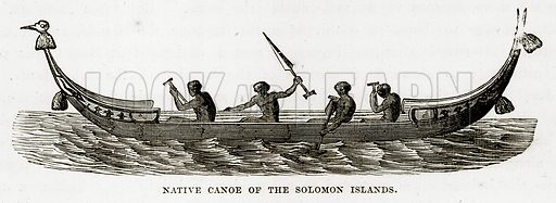 Native Canoe of the Solomon Islands. Illustration from The Countries of the World by Robert Brown (Cassell, c 1890).
