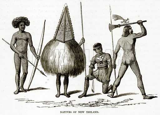 Natives of New Ireland. Illustration from The Countries of the World by Robert Brown (Cassell, c 1890).