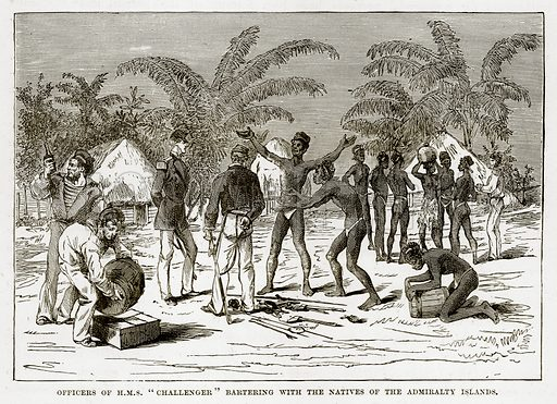 "Officers of H.M.S. ""Challenger"" Bartering with the Natives of the Admiralty Islands. Illustration from The Countries of the World by Robert Brown (Cassell, c 1890)."