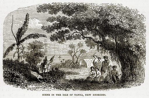 Scene in the Isle of Tanna, New Hebrides. Illustration from The Countries of the World by Robert Brown (Cassell, c 1890).