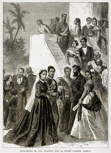 Hawahans of the Present Day (A Court Garden Party). Illustration from The Countries of the World by Robert Brown (Cassell, c 1890).