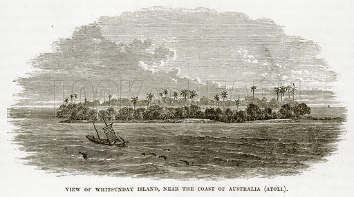 View of Whitsunday Island, near the Coast of Australia (Atoll). Illustration from The Countries of the World by Robert Brown (Cassell, c 1890).
