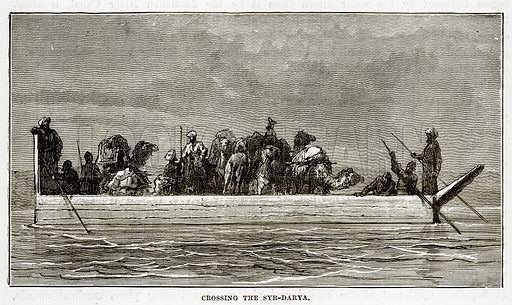 Crossing the Syr-Darya. Illustration from The Countries of the World by Robert Brown (Cassell, c 1890).