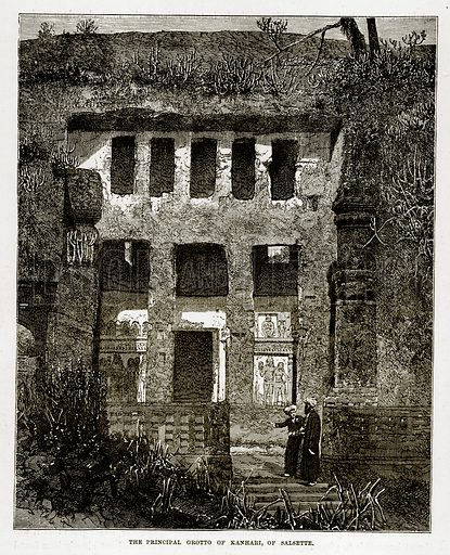 The Principal Grotto of Kanhari, of Salsette. Illustration from The Countries of the World by Robert Brown (Cassell, c 1890).