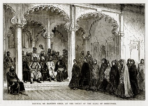 Nautch, or Dancing Girls, at the Court of the Rana of Oddeypore. Illustration from The Countries of the World by Robert Brown (Cassell, c 1890).