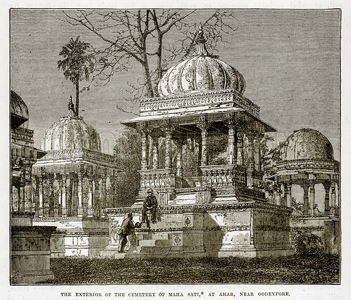 The exterior of the Cemetery of Maha Sati, at Ahar, near Oodeypore. Illustration from The Countries of the World by Robert Brown (Cassell, c 1890).