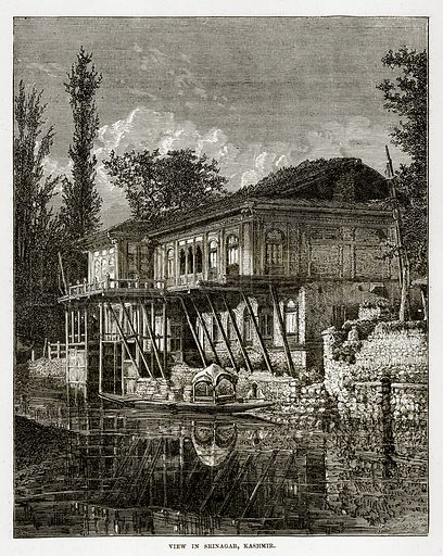 View in Srinagar, Kashmir. Illustration from The Countries of the World by Robert Brown (Cassell, c 1890).