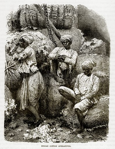 Indian Cotton Operatives. Illustration from The Countries of the World by Robert Brown (Cassell, c 1890).