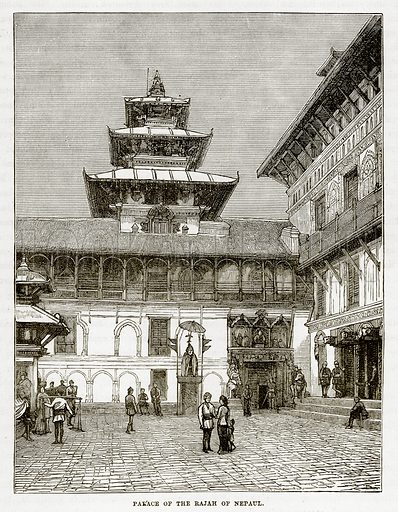 Palace of the Rajah of Nepaul. Illustration from The Countries of the World by Robert Brown (Cassell, c 1890).