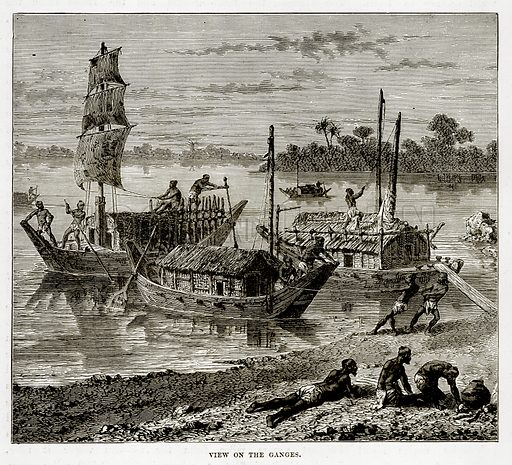 View on the Ganges. Illustration from The Countries of the World by Robert Brown (Cassell, c 1890).