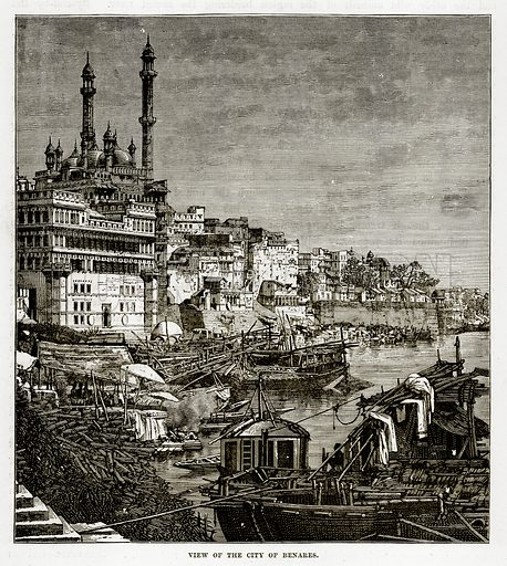 View of the City of Benares. Illustration from The Countries of the World by Robert Brown (Cassell, c 1890).
