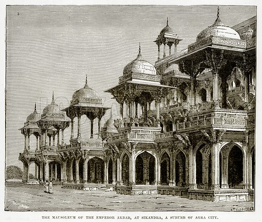 The Mausoleum of the Emperor Akbar, at Sikandra, a Suburb of Agra City. Illustration from The Countries of the World by Robert Brown (Cassell, c 1890).