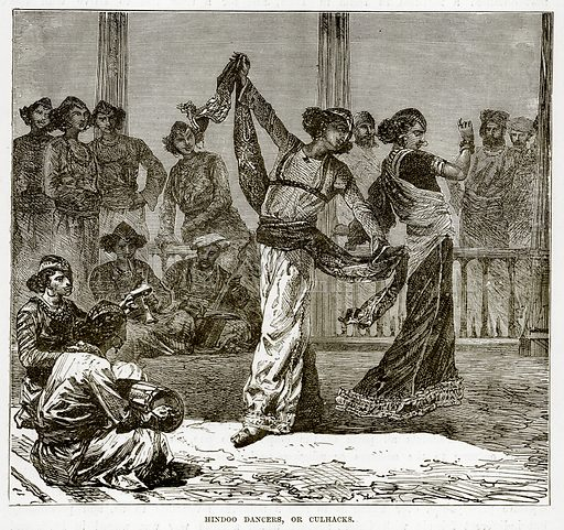 Hindoo Dancers, or Culhacks. Illustration from The Countries of the World by Robert Brown (Cassell, c 1890).