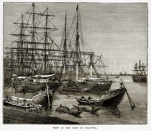 View of the Port of Calcutta. Illustration from The Countries of the World by Robert Brown (Cassell, c 1890).