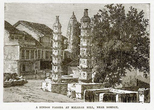 A Hindoo Pagoda at Malabar Hill, near Bombay. Illustration from The Countries of the World by Robert Brown (Cassell, c 1890).