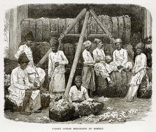 Parsee Cotton Merchants of Bombay. Illustration from The Countries of the World by Robert Brown (Cassell, c 1890).