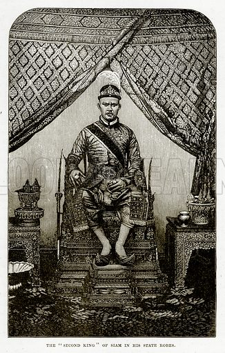 """The """"Second King"""" of Siam in his State Robes. Illustration from The Countries of the World by Robert Brown (Cassell, c 1890)."""