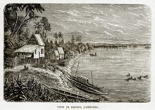 View in Khong, Cambodia. Illustration from The Countries of the World by Robert Brown (Cassell, c 1890).