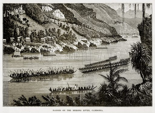 Barges on the Makong River, Cambodia. Illustration from The Countries of the World by Robert Brown (Cassell, c 1890).
