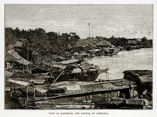 View of Panompin, the Capital of Cambodia. Illustration from The Countries of the World by Robert Brown (Cassell, c 1890).