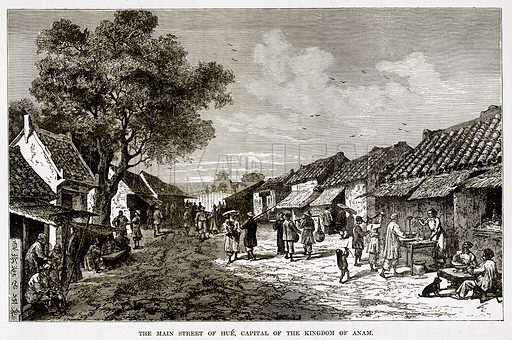 The Main Street of Hue, Capital of the Kingdom of Anam. Illustration from The Countries of the World by Robert Brown (Cassell, c 1890).