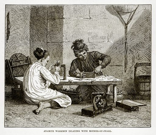 Anamite Workmen inlaying with Mother-of-Pearl. Illustration from The Countries of the World by Robert Brown (Cassell, c 1890).