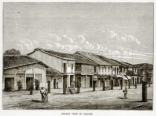 Street view in Saigon. Illustration from The Countries of the World by Robert Brown (Cassell, c 1890).