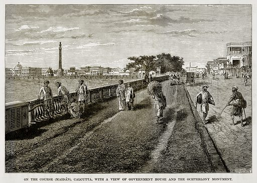 On the Course (Maidan), Calcutta, with a view of Government House and the Ochterlony Monument. Illustration from The Countries of the World by Robert Brown (Cassell, c 1890).