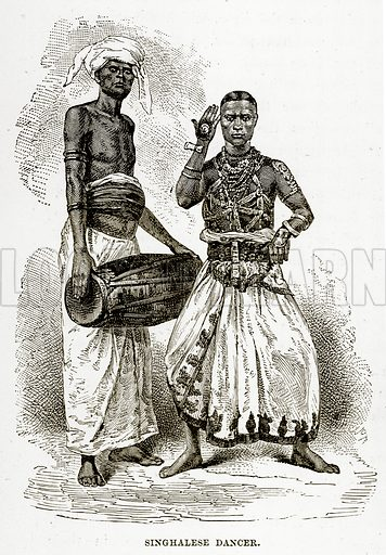 Singhalese Dancer. Illustration from The Countries of the World by Robert Brown (Cassell, c 1890).