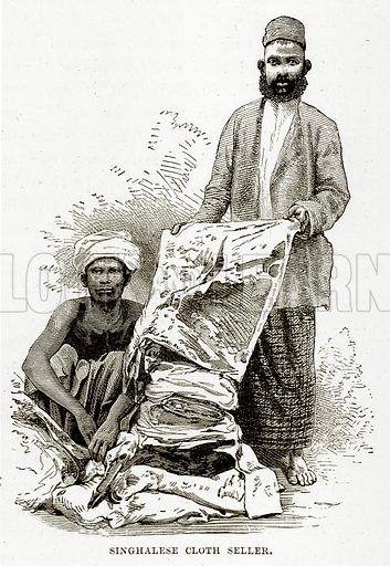 Singhalese Cloth Seller. Illustration from The Countries of the World by Robert Brown (Cassell, c 1890).