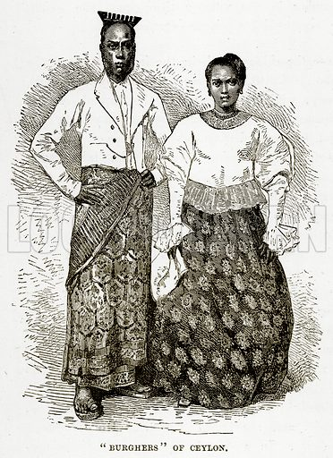 """""""Burghers"""" of Ceylon. Illustration from The Countries of the World by Robert Brown (Cassell, c 1890)."""