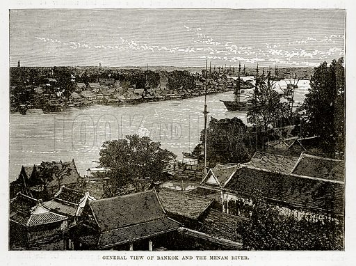 General view of Bankok and the Menam River. Illustration from The Countries of the World by Robert Brown (Cassell, c 1890).