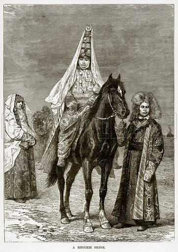 A Kirghiz Bride. Illustration from The Countries of the World by Robert Brown (Cassell, c 1890).