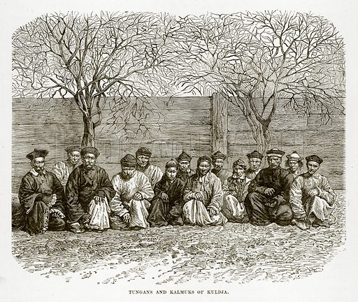 Tungans and Kalmuks of Kuldja. Illustration from The Countries of the World by Robert Brown (Cassell, c 1890).