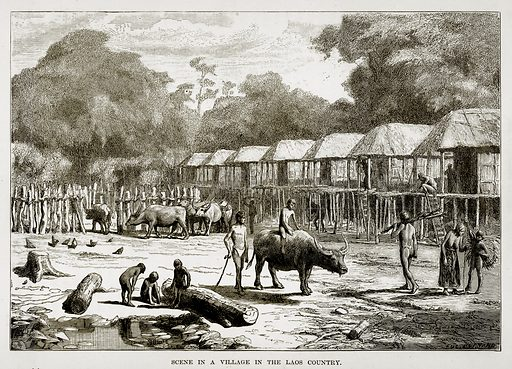 Scene in a Village in the Laos Country. Illustration from The Countries of the World by Robert Brown (Cassell, c 1890).