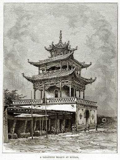 A Tarantchi Mosque at Kuldja. Illustration from The Countries of the World by Robert Brown (Cassell, c 1890).