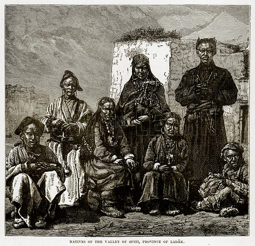 Natives of the Valley of Spiti, Province of Ladak. Illustration from The Countries of the World by Robert Brown (Cassell, c 1890).