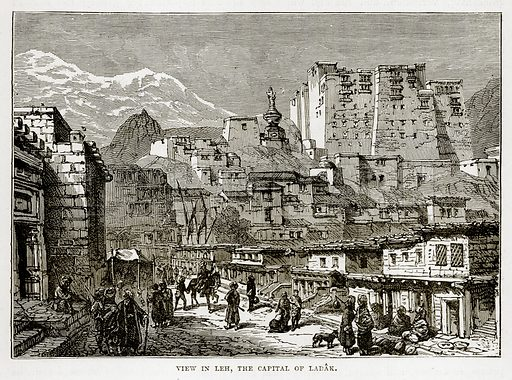 View in Leh, the Capital of Ladak. Illustration from The Countries of the World by Robert Brown (Cassell, c 1890).