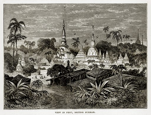 View in Pegu, British Burmah. Illustration from The Countries of the World by Robert Brown (Cassell, c 1890).