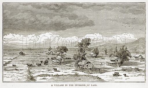 A Village in the interior of Laos. Illustration from The Countries of the World by Robert Brown (Cassell, c 1890).