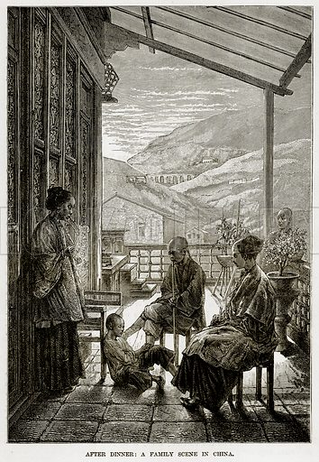 After Dinner: A Family Scene in China. Illustration from The Countries of the World by Robert Brown (Cassell, c 1890).