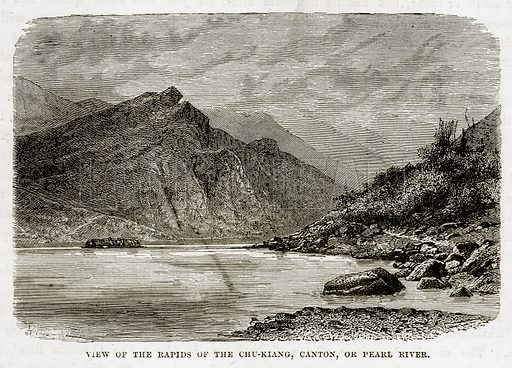 View of the Rapids of the Chu-Kiang, Canton, or Pearl River. Illustration from The Countries of the World by Robert Brown (Cassell, c 1890).